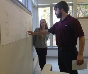 Rebecca Rudner '16 and Mr. Derrick Laurion working together on an Architecture Independent Study, a type of flipped classroom